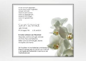 Weiße Orchidee - Traueranzeige Motiv B-15